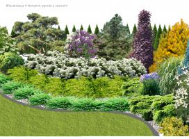 Narożnik ogrodu z wysokimi sosnami